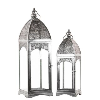 Metal Lantern with Ring Hanger Glass Sides and Square Base Pierced Electroplated Silver (Set of 2)