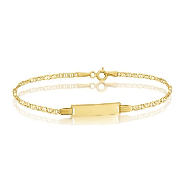 Pori 10k Yellow Gold Baby ID Marina Chain Bracelet