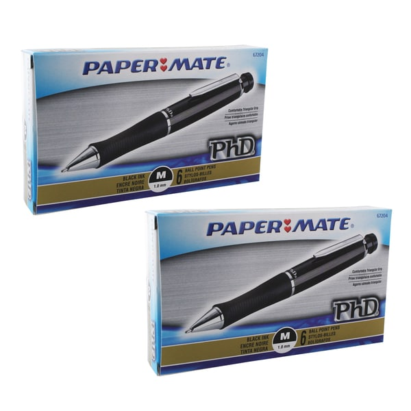 Paper Mate PhD Retractable Black Barrel Medium Point Ballpoint Pen