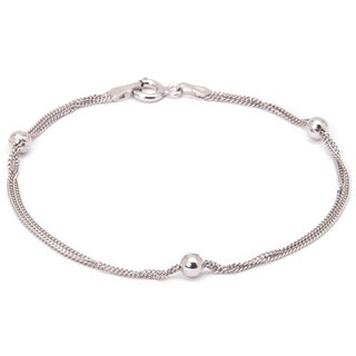 Pori Sterling Silver Multi-Strand Cuban Chain with Ball Beads Bracelet