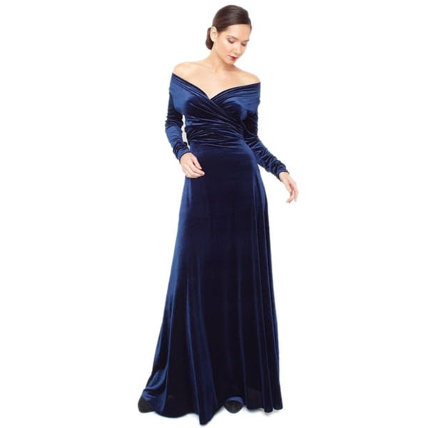 Von Ronen Women's Velvet Victoria Long-Sleeve Convertible Maxi Dress