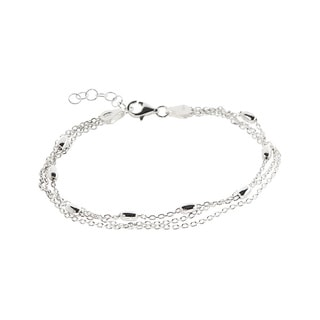 Pori Sterling Silver Multi-Strand Anchor Chain with Beads Bracelet