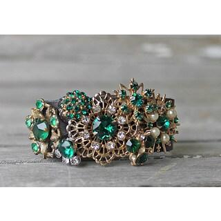 CarolineAlexander Vintage Emerald Leather Cuff Bracelet