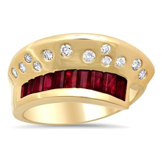 14k Yellow Gold 1/3ct TDW Diamond and Ruby Ring (F-G, SI1-SI2)