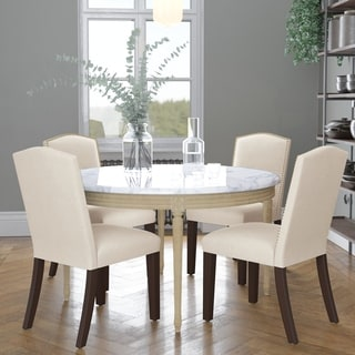 Skyline Furniture Nail Button Arched Dining Chair in Linen Talc