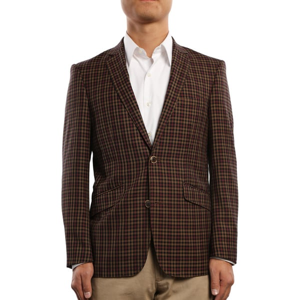 Verno Civello Men's Brown and Burgundy Micro-Plaid Slim Fit Italian Styled Blazer