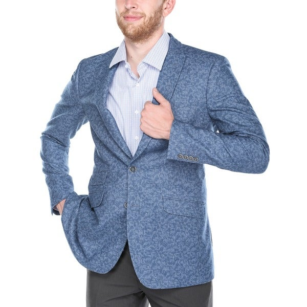 Verno Calvo Men's Blue Patterned Slim Fit Italian Styled Wool Blend Blazer