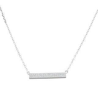 La Preciosa Sterling Silver Cubic Zirconia Small Bar Necklace