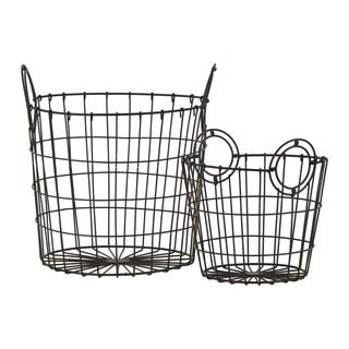 Metal Wire Basket with Metal Handles Rust Brown (Set of 2)