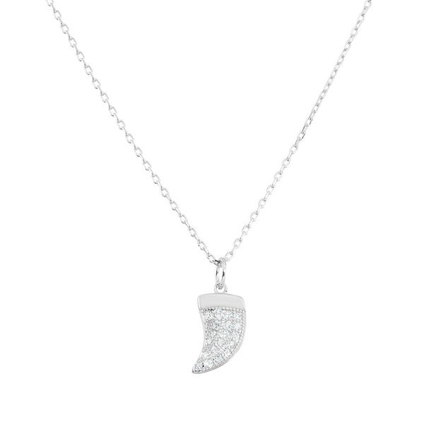 La Preciosa Sterling Silver Cubic Zirconia Small Shark Tooth Necklace 16863428