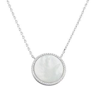 La Preciosa Sterling Silver Mother of Pearl and Cubic Zirconia Circle Disc Necklace