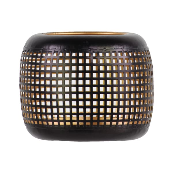 Metal Perforated Votive Candle Holder with Gold Interior Black