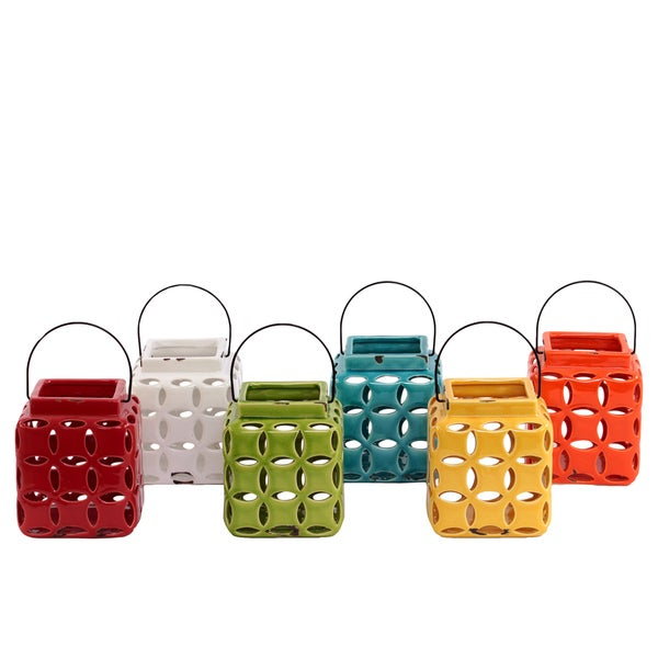 Ceramic Lantern Assortment of Six Assorted Color (Red White Yellow Orange Turquoise and Yellow Green)