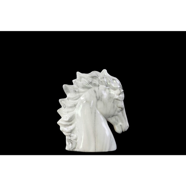 Ceramic Horse Head SM Marbleized with Brown Streaks Gloss White 16863503