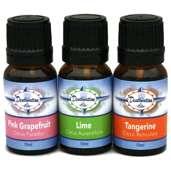 Destination Oils Therapeutic Grade Lime/ Tangerine/ Grapefruit Citrus Essential Oil Aromatherapy Gift Set
