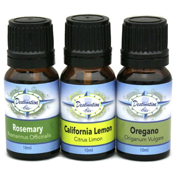 Destination Oils Kitchen 10ml Therapeutic Grade Oregano/ Rosemary/ Lemon Essential Oil Gift Set