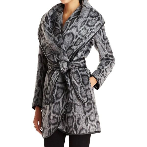 Diane Von Furstenberg Women's Bergen Grey Leopard Coat