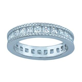 Katerina Sterling Silver 1 1/4ct TGW Princess-cut Cubic Zirconia Eternity Bridal Band
