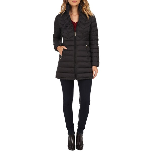 Michael Michael Kors Black Chevron 3/4 Packable Coat