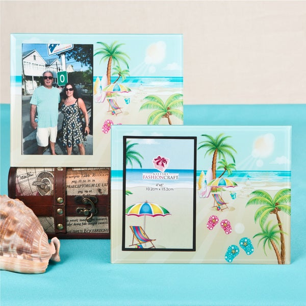Glass Flip-Flop/Palm Trees Beach Theme Frame