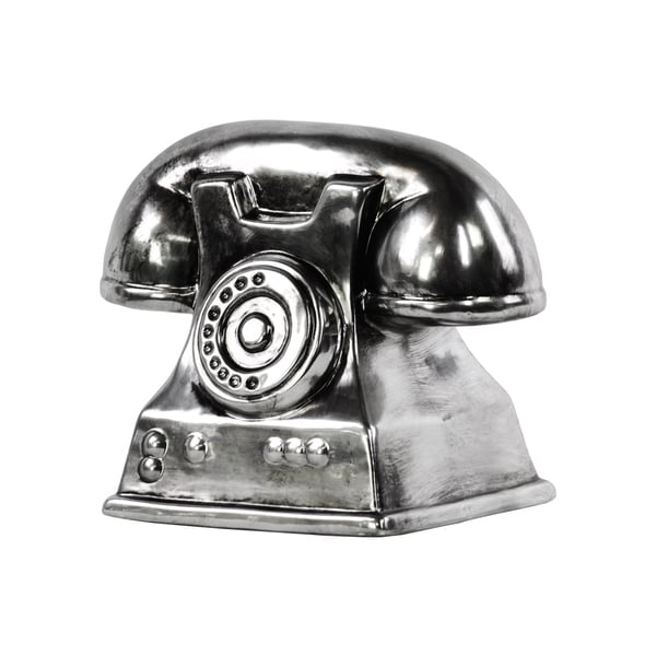 Ceramic Vintage Telephone Sculpture Tarnished Chrome Silver
