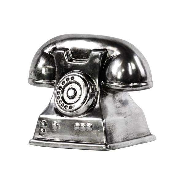 Ceramic Vintage Telephone Sculpture Tarnished Chrome Silver