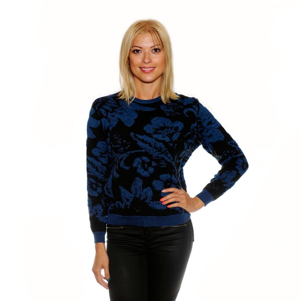Nancy Yang Multicolor Floral Scoop Neck Sweater
