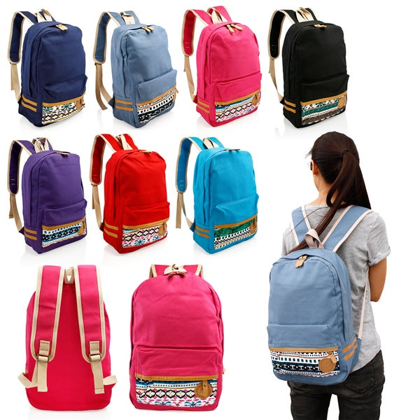 Gearonic Fashion Women Canvas School Bag Cute Travel School Backpack