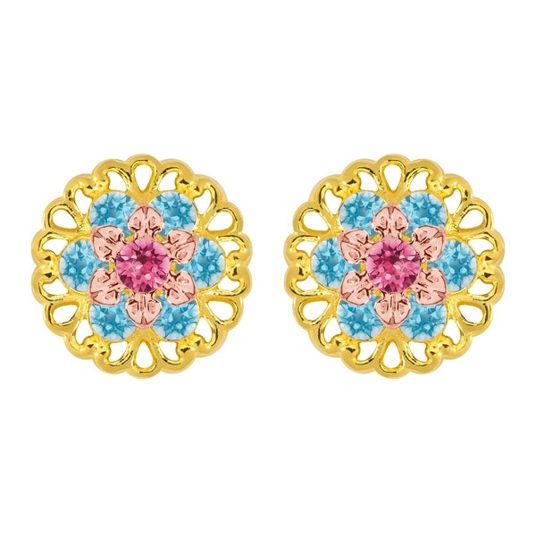 Lucia Costin Sterling Silver Pink/ Light Blue Crystal Earrings 16863954