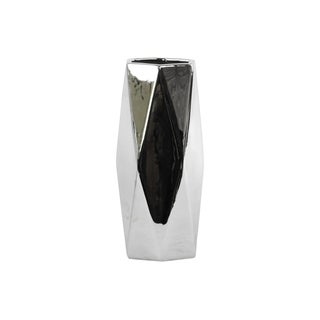 Ceramic Hexagonal Tall Vase Polished Chrome Silver