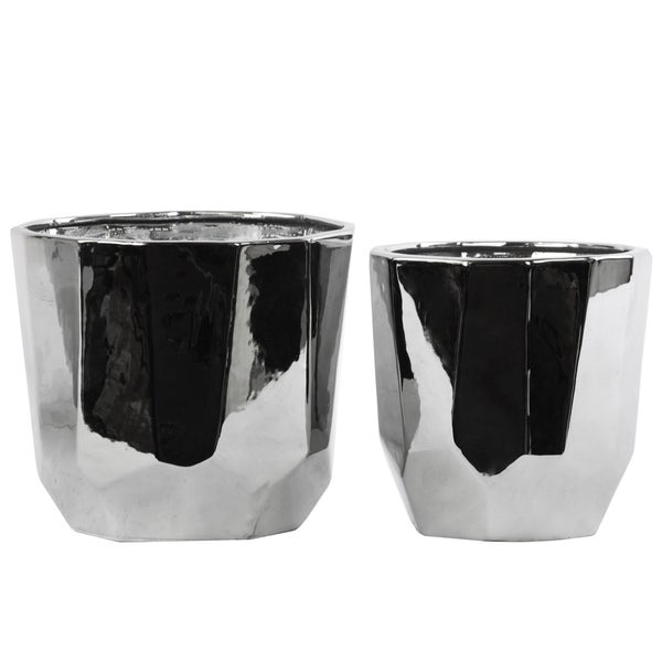 Ceramic Tridecagonal Pot Polished Chrome Silver (set of 2)