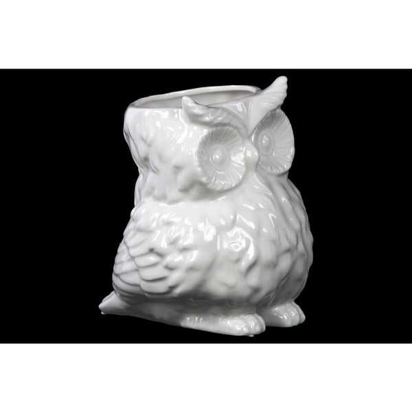 Ceramic Owl Vase Gloss White 17945143