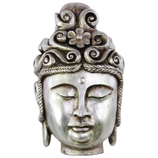 Urban Trends Buddha Head with Rounded Floral Ushnisha Silver Resin Figurine