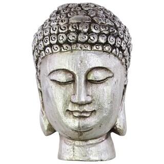 Resin Buddha Head with Beaded Hair and Small Ushnisha Silver