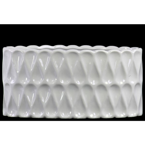 Ceramic Wide Oval Vase with Debossed Teardrop Pattern Gloss White