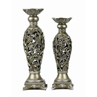 D'Lusso Designs Lucrezia Two-piece Hurricane Candlestick Set