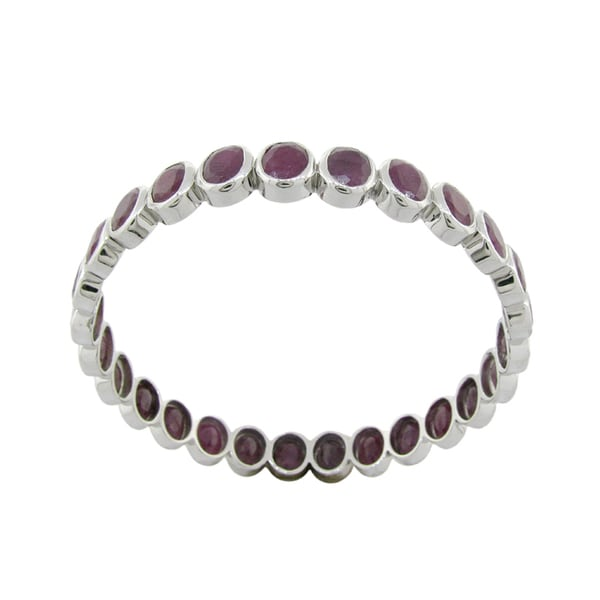 SS Indian Ruby/ Blue Sapphire Bangle