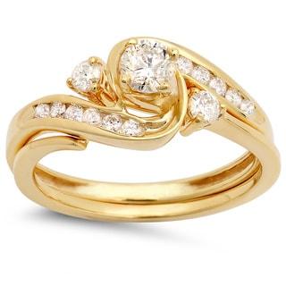 10k Yellow Gold 1/2ct TDW Round Diamond Swirl Bridal Set (I-J, I1-I2)
