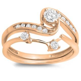 10k Rose Gold 1/2ct TDW Round Diamond Swirl Bridal Band Set (I-J, I1-I2)