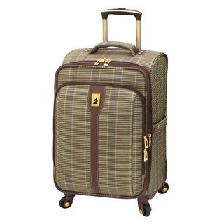 London Fog Westminster Camel Plaid 21-inch Carry On Expandable Spinner Upright Suitcase