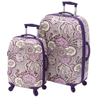 Waverly Trends Purple Paisley 2-piece Hardside Spinner Luggage Set