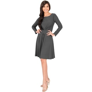 KOH KOH Women's Round Neck Long Sleeve Ruched Midi Dress