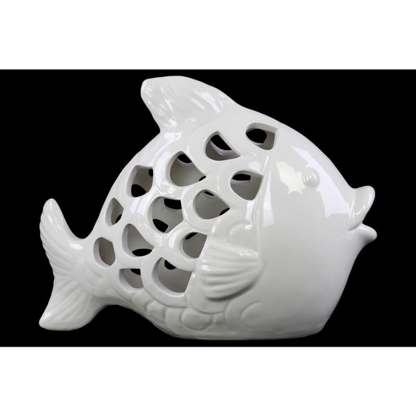 Ceramic Glossy White Fish Figurine