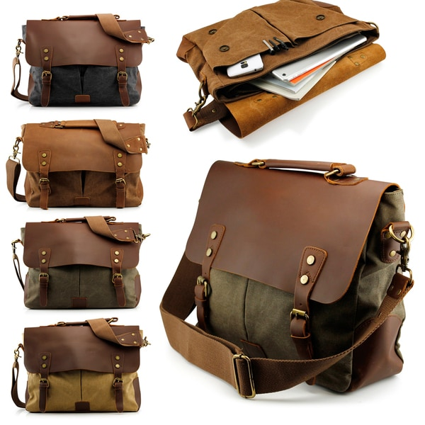 Gearonic Men's Vintage Satchel School Military Messenger Shoulder Bag in Brown (As Is Item)