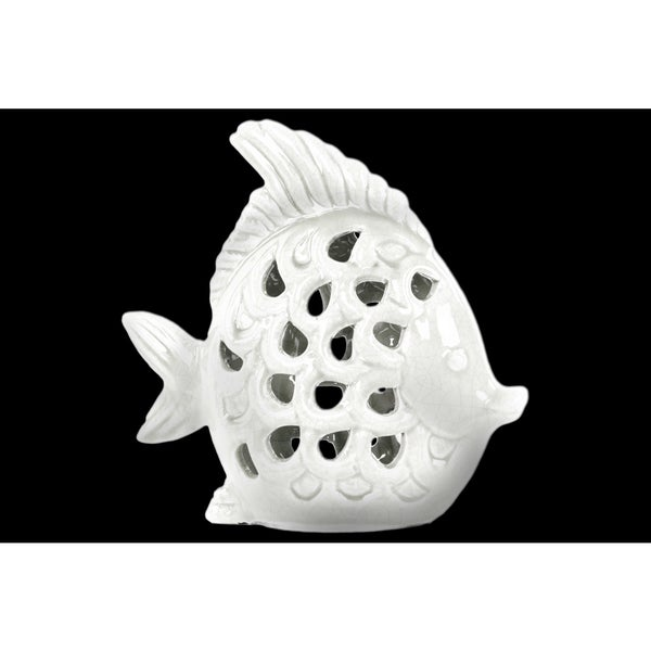 Ceramic White Gloss Cut-out Fish Figurine