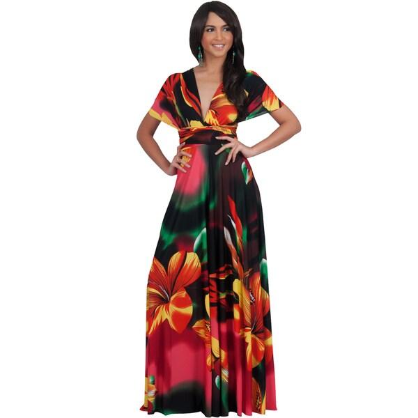 Koh Koh Women's Convertible Wrap Infinity Floral Maxi Dress