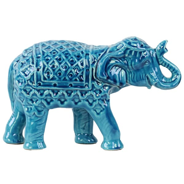 Ceramic Standing Deep Sky Blue Elephant Figurine with Engraved Blanket