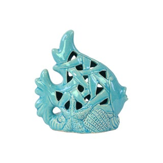 Ceramic Gloss Sky Blue Fish Figurine with Perforated Design