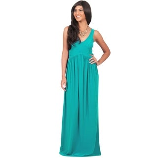 KOH KOH Women's Sleeveless V-Neck Slimming Sundress Maxi Dress
