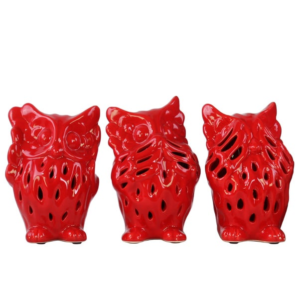 Ceramic Owl No Evil Figurine with Perforated Design Assortment of Three Gloss Red